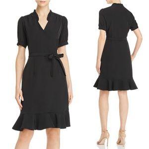 NWT Nanette Lepore Flounced Wrap-Style Dress black
